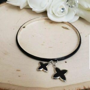 Jewelry - Sterling Silver Enamel Charm Cross Bangle Bracelet